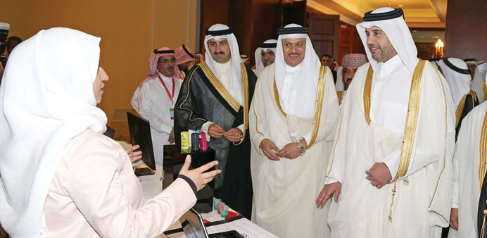 "Minister of Economy and Commerce Sheikh Ahmed bin Jassim and GCC Secretary General at the launch of ""Hemaya"" system"