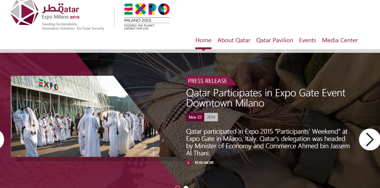 A screenshot from Qatar Pavilion Committee - Expo 2015 website