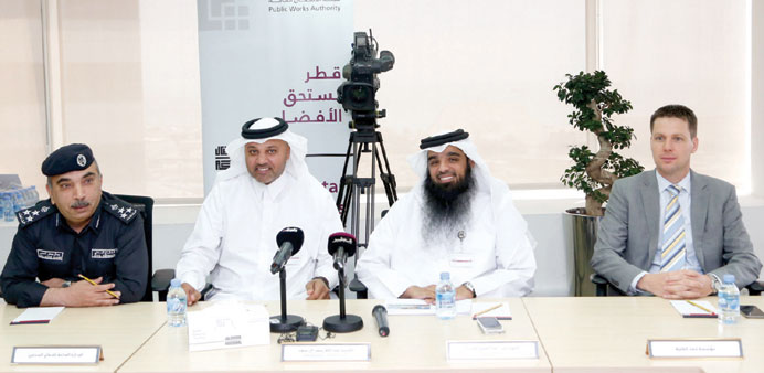 "A photo from the press conference held in ""Ashghal"""