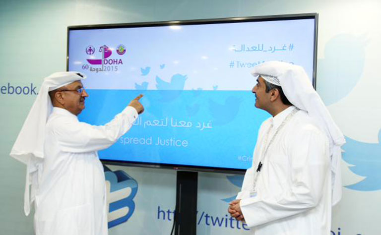 A photo of officials at the launch of Tweet for Justice